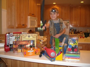 Luke, with all his birthday presents. We celebrated our birthdays together this past Saturday.